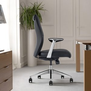 Black Leather Midback Home Office Chair