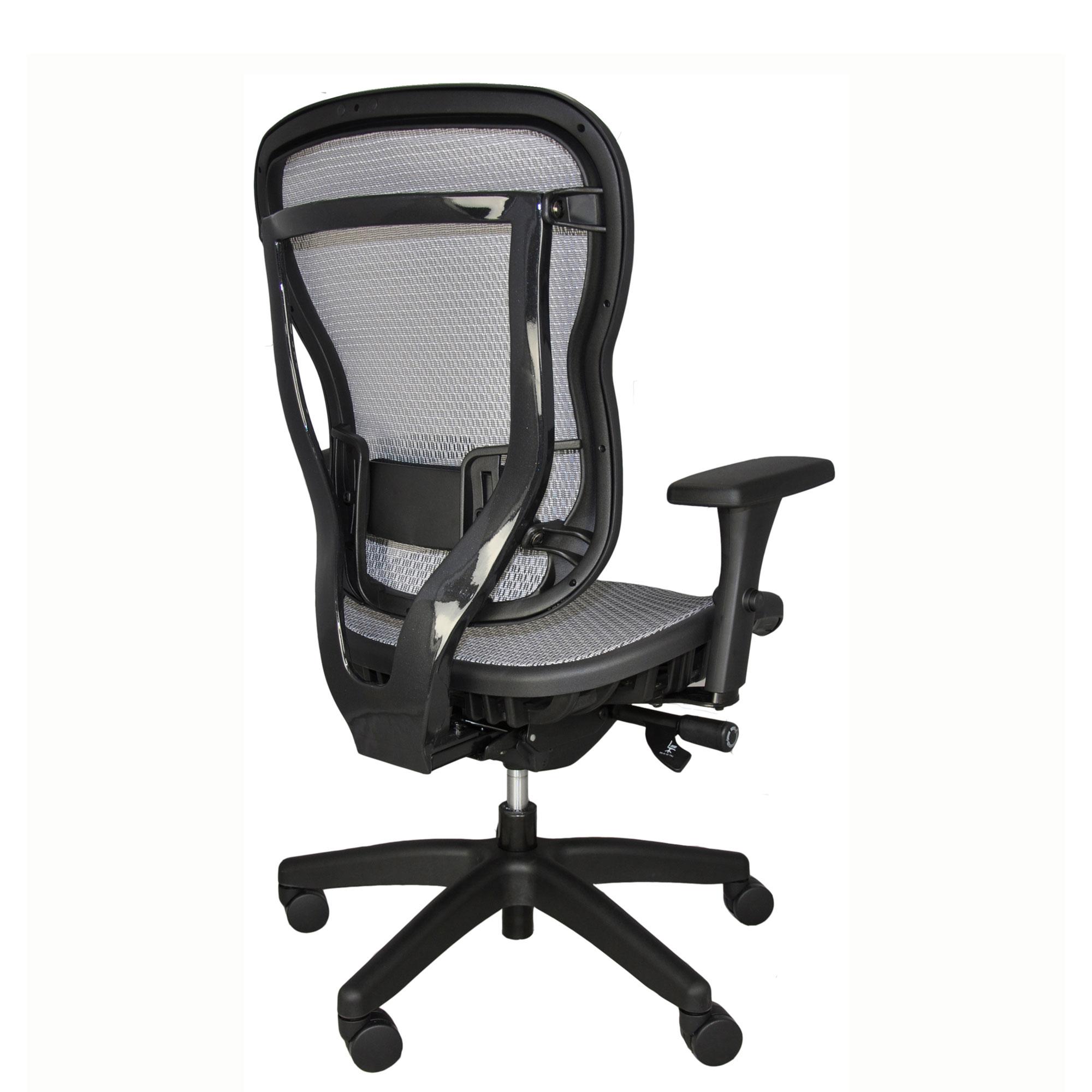 Ergonomic all-mesh office chair - light gray - silver - back angle