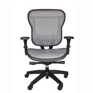 Light gray all-mesh office chair with arms and wheels