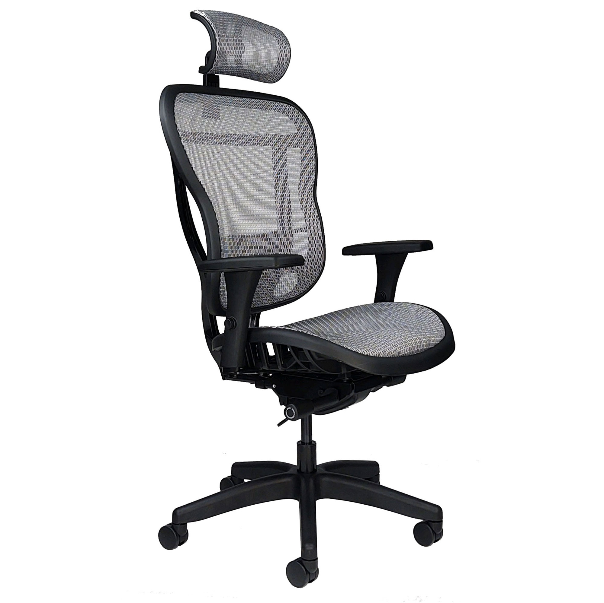 All-mesh ergonomic office chair with headrest, arms and wheels - front angle