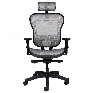 All-mesh ergonomic office chair with headrest, arms and wheels