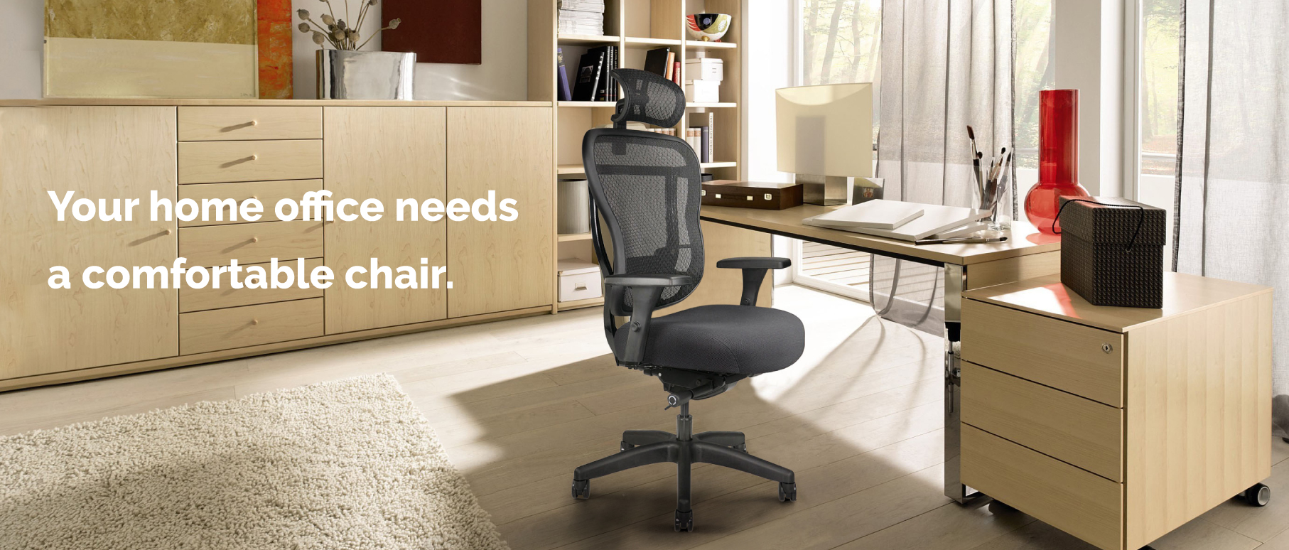 Home Office Chair with wheels, arms, headres and optional headrest.