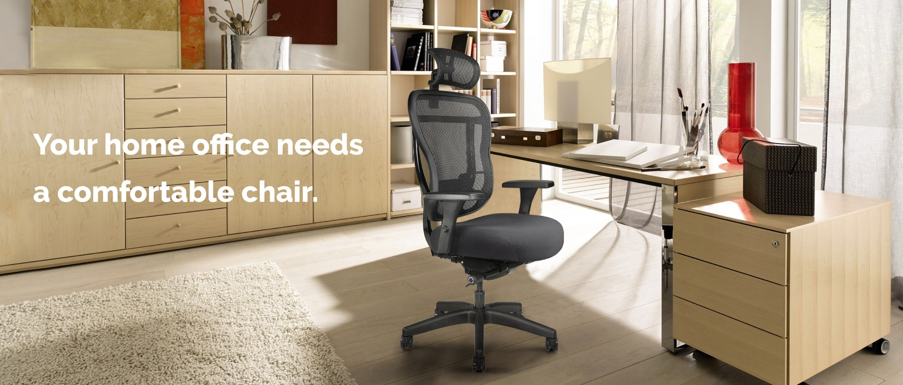 Office Chair with extra-thick seat cushion, mesh back, arms, wheels, and optional headrest